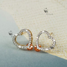 18k yellow gold gf SWAROVSKI crystal love heart stud earrings