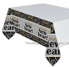 Large Happy New Year Plastic Tablecover Tablecloth Black Silver Party Decoration