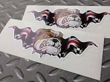 BRITISH BULLDOG UNION JACK WINGS Car Motorcycle Stickers Decals 2 off 150mm