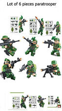 Green Commando Army Soldier Minifigure paratrooper lot of 6 compatible with lego
