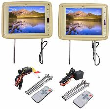"Pair Tview T120PL-TN 12"" Tan/Beige Wide Screen, High-Res Headrest Car Monitors"