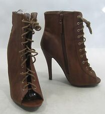 "TAN 4.5""Stiletto high heel open toe lace up  sexy ankle boot Size  8"