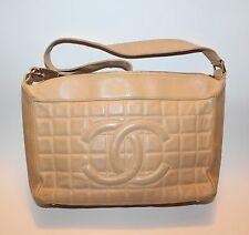 CHANEL Beige Leather Chocolate Bar Handbag Shoulder Bag CC Quilted Pattern