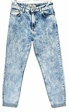 Topshop MOM High Waisted Tapered Vintage ACID Blue Crop Jeans Size 10 W28 L32
