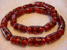 "Lampwork Cylinder/Tube Glass Beads  16"" strand 20x10mm Red"