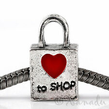 Love To Shop Handbag Purse European Bead With Red Heart For Charm Bracelets