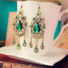 NEW Women Green Crystal  Gold Plated Hook Ear Stud Drop Dangle Earrings