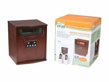 Lifesmart Pro 6 Element Large Room Infrared Quartz Heater w/Wood Cabinet and ...