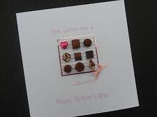 Personalised handmade Mother's Day Mothers mum mummy birthday card chocolates
