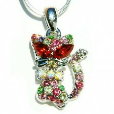 w Swarovski Austrian Crystal Rainbow Kitty Cat Kitten Charm Pendant Necklace New