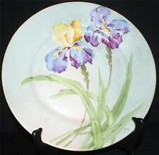 "Antique B&H Limoges Bone China Artist Signed ""Luc"" Hand Painted IRISES Plate"