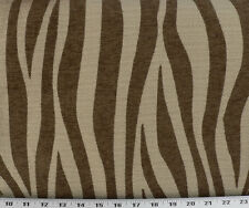 Drapery Upholstery Fabric Chenille Animal Print Zebra Stripes - Chocolate / Tan