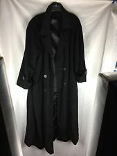 Ladies Regency Cashmere Blend Long Solid Black Trench Coat  SZ 12