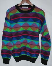 vintage Conte of Florence M sweater wild neon print made in Italy cosby