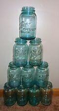 10 OLD VINTAGE BALL PERFECT MASON ANTIQUE BLUE GLASS QUART CANNING JARS 1 OFFSET