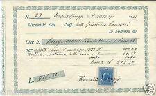 RICEVUTA AFFITTO CASA MARZO 1933 TORTORETO SPIAGGIA LIRE 500 + MARCA 50 CENTESIM