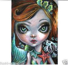 Aceo PRINT gothic Little Mermaid zombie big eyes girl #99 art Liquid Acid Eyes