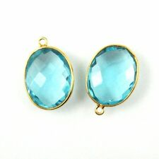 Gemstone Pendant - 14x18mm Faceted Oval - Blue Topaz (Sold Per 2 Pcs)