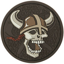 PVC Morale Patch MAXPEDITION - VIKING WARRIOR SKULL Circle - ARID Tan