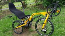 Recumbent Folding Bike Bicycle Flevobike Yellow Disk Brake Ventisitz Seatmat NEW