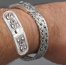 "9"" 47g BRAIDED TRIBAL FLOWER WOVEN 925 STERLING SILVER MENS WOMENS BRACELET"