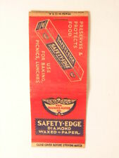 Early advertising matchbook cover: Safety-edge Diamond waxed paper