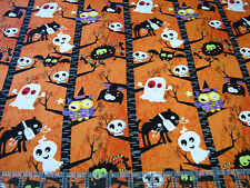 3 Yards Quilt Cotton Fabric- Studio E Slime Time Witch Ghost Owl Cat Org Stripe