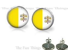 Vatican City Flag Image Stud Earrings 14mm Setting Handcrafted Homemade Jewelry