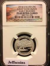 2014 S NGC PR69 SILVER Proof GREAT SAND DUNES National Park QUARTER Early Releas