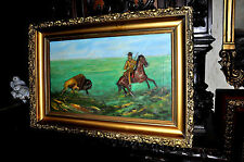 Old Buffalo and Hunter Oil Painting on canvas