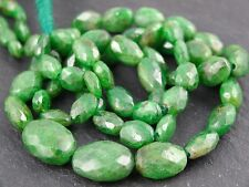 "HAND FACETED TSAVORITE GREEN GARNET OVALS, 4x6mm - 8x11mm, 15"", 52 beads"