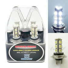Retail Box LED H7 6000K White Xenon 18 SMD Headlight #v27 2x Bulb Low Beam Light