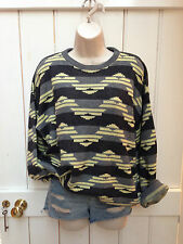 Vintage 90s Oversized Grey Yellow Aztec Slouchy Jumper Large Grunge Blogger
