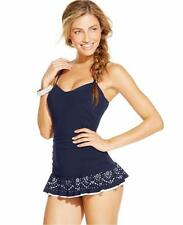 NWT Profile by Gottex Navy Laser Cut Peplum One Piece Swimdress Swimsuit 12 f12