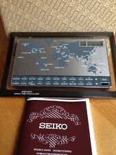 Vintage Seiko World Time Talking Voice Alarm Clock With Box/Instructions - Nice!