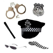 Women's Girls Policewoman Set Cop Police Kit Hen Hat Fancy Dress Party Costume