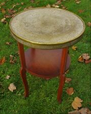 Tea Coffee Side Table  Round Wood Engraved Brass Persian Asian Table Top tray