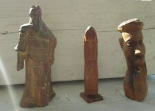 "Vintage Oriental & African Wood Carved Statues Figures10""- 12"" Folk Art Lot of 3"
