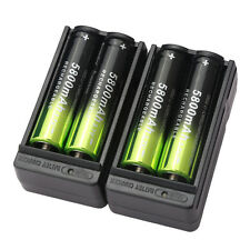 4X SKYWOLFEYE 5800mAh Li-ion 18650 3.7V Rechargeable Battery + 2X Smart Charger