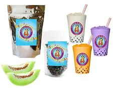 10+ Drinks Honeydew Boba Tea Kit: Tea Powder, Tapioca Pearls & Straws