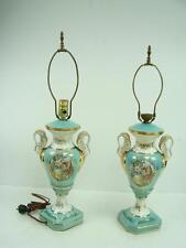 Pair of Antique French Le Mieux China 24 Karat Gold Turquoise Ornate Table Lamp