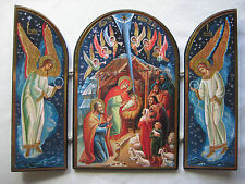 Russian Triptych Nativity Icon,  Infant Jesus, Joseph, Mary, Shepherds & Angels