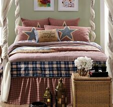 COUNTRY FLAG Full Queen QUILT SET :  INDEPENDENCE STAR RED WHITE BLUE AMERICAN