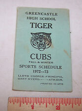 1972 1973 GREENCASTLE INDIANA High School Sports Schedule Basketball Football ++