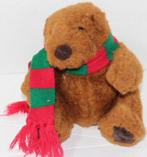 Russ CHUBBS TEDDY BEAR WEARING RED GREEN SCARF Stuffed Animal PLUSH SOFT TOY