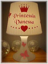 ♡♥ Kinderlampe Tischlampe Prinzessin Herz Krone Schmetterling mit Wunschnamen ♡♥
