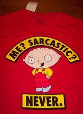 """FAMILY GUY STEWIE  """"Me Sarcastic?""""  T-Shirt SMALL NEW w/ TAG"""