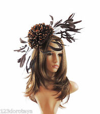 Brown Fascinator Hat For Weddings/Ascot/Proms With Headband