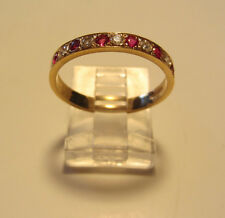 Estate 14k Yellow Gold Natural Ruby & Diamond Accents Anniversary Band Ring