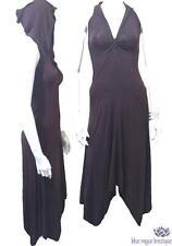 Brown Gypsy Goddess Backless Hooded Asymmetrical Pixie Sleeveless Dress Jedzebel